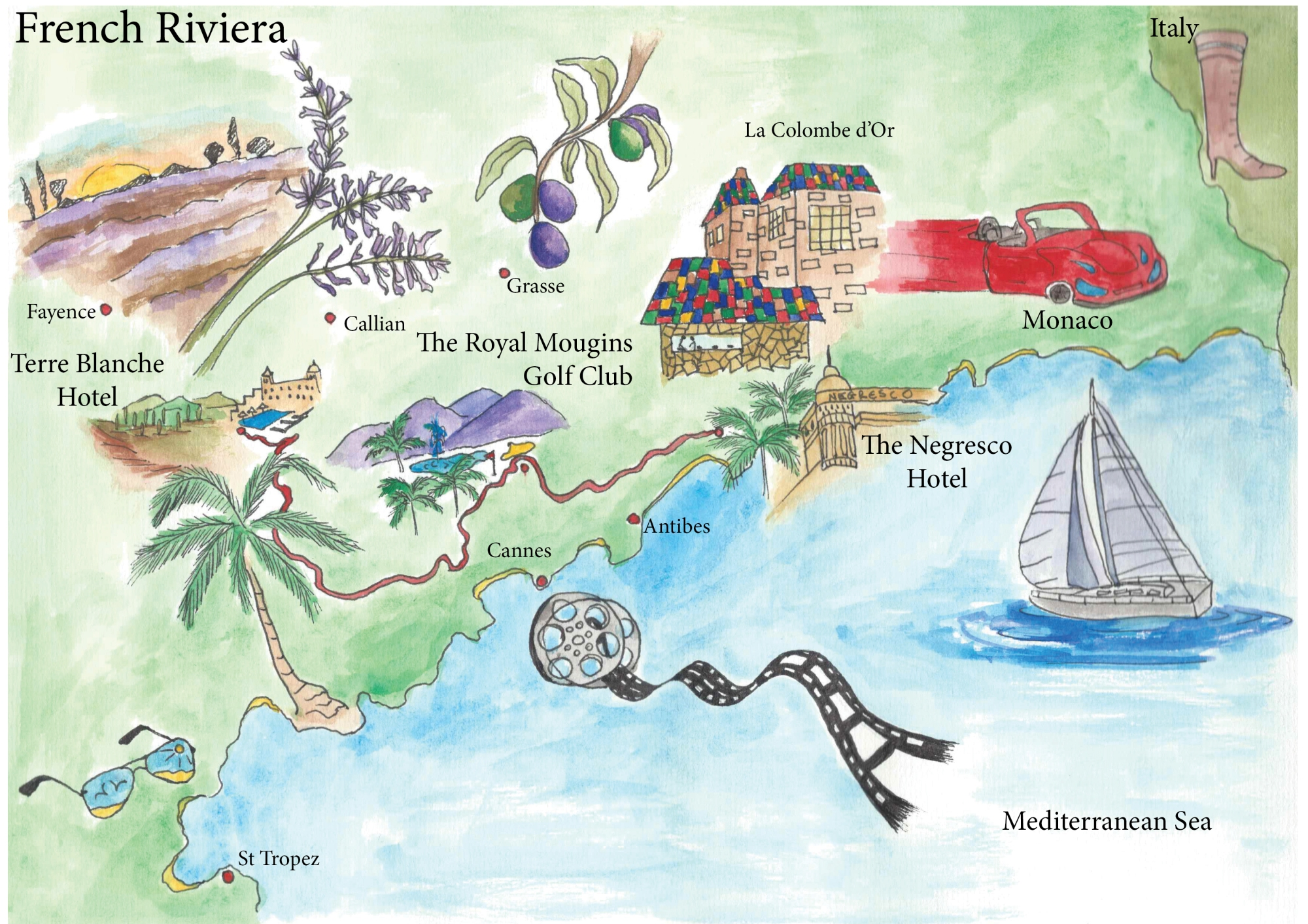 Illustration of road trip in French Riviera for Lady Golfer Magazine